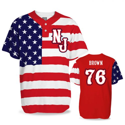 Custom Sublimated Elite Star-Spangled Banner BB Jersey SS 2-Button
