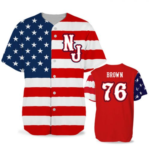 Custom Sublimated Elite Star-Spangled Banner BB Jersey SS Full-Button