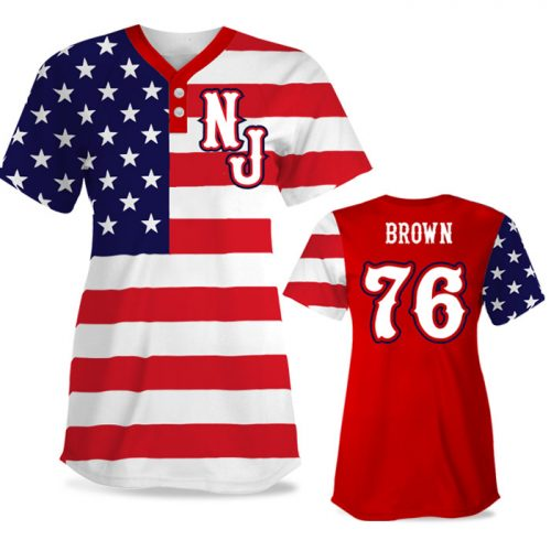 Custom Sublimated Elite Star-Spangled Banner FP Jersey SS 2-Button
