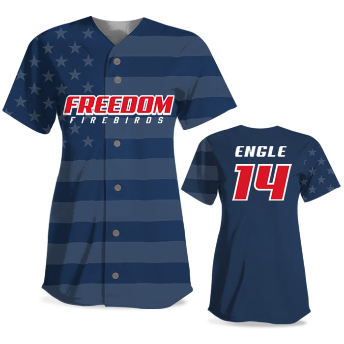 Custom Sublimated Elite Star-Spangled Banner FP Jersey SS Full-Button