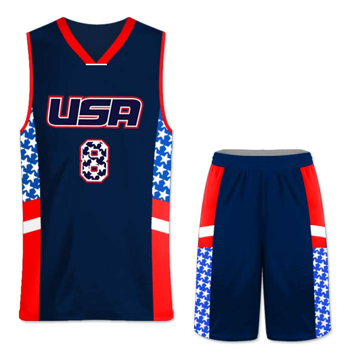 This is the Elite Team USA 2 basketball package featuring custom sublimated reversible uniform made by Team Sports Planet.