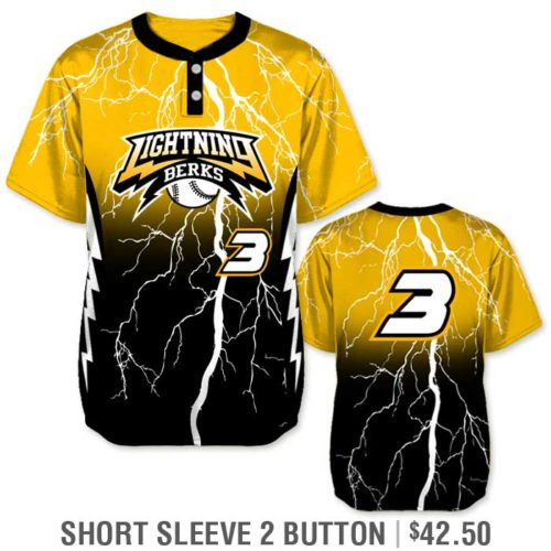 Elite Thunderstruck Custom Baseball Jersey, Lightning Bolt, Gradient, Blended Colors, Sublimated, Short Sleeve 2-Button