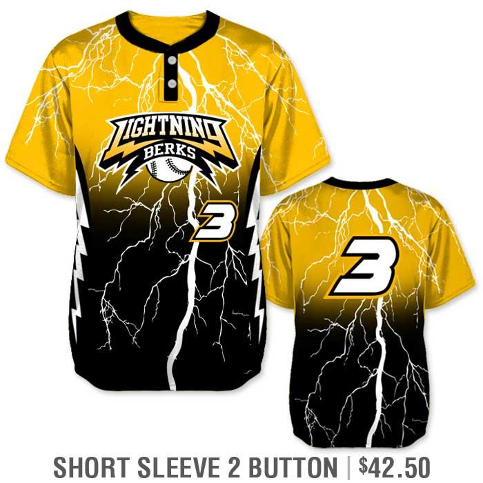 Elite Thunderstruck Custom Baseball Jersey, Lightning Bolt, Gradient, Blended Colors, Sublimated, Short Sleeve 2-Button