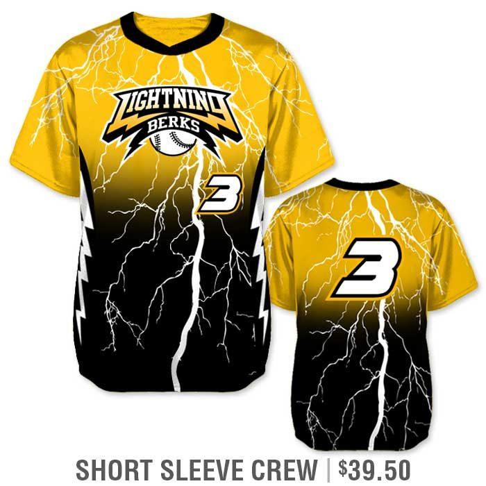 Elite Thunderstruck Custom Baseball Jersey, Lightning Bolt, Gradient, Blended Colors, Sublimated, Short Sleeve Pullover Crew