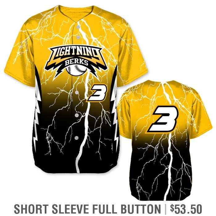 Elite Thunderstruck Custom Baseball Jersey, Lightning Bolt, Gradient, Blended Colors, Sublimated, Short Sleeve Full-Button