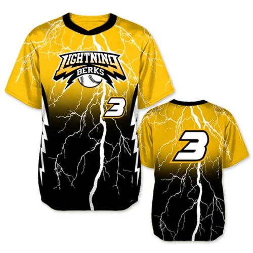 Elite Thunderstruck Custom Baseball Jersey, Lightning Bolt, Gradient, Blended Colors, Sublimated, Short Sleeve Pullover Crew