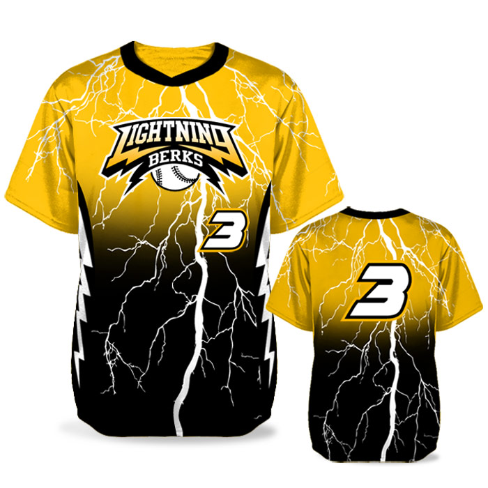 Custom Sublimated Elite Thunderstruck BB Jersey SS No-Button