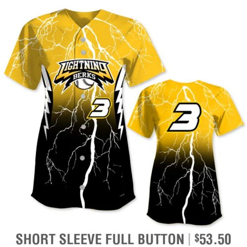 Custom Softball Uniform with Lightning Bolt