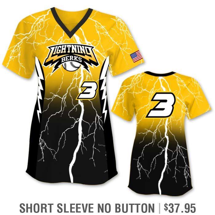 Custom Softball Uniform with Lightning Bolt