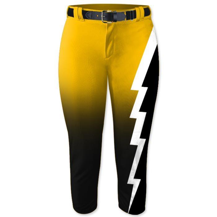 Elite Thunderstruck Softball Pants, Custom Sublimated, Lightning Bolt, Storm,