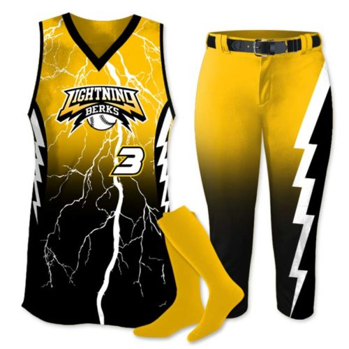 Elite Thunderstruck Custom Sublimated Fastpitch Softball Uniform, Thunderbolt, Storm, Lightning Bolt