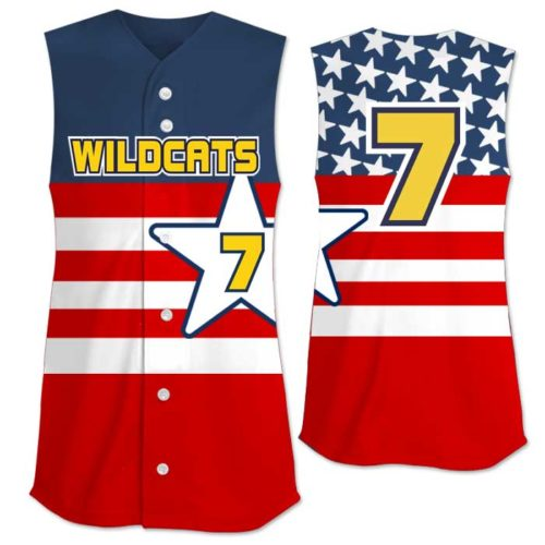This is the Elite United We Stand custom sublimated patriotic softball jersey made by Team Sports Planet.