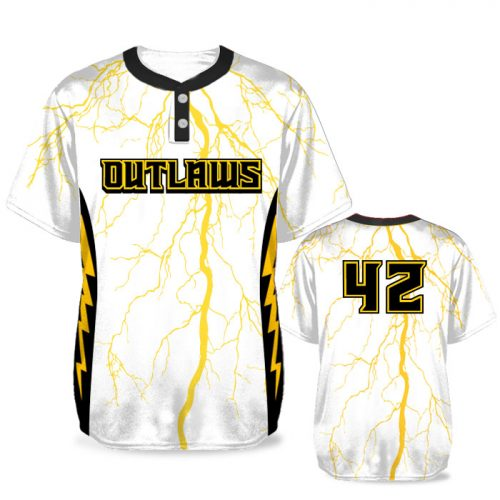Custom Sublimated Elite Thunderstruck BB Jersey SS 2-Button
