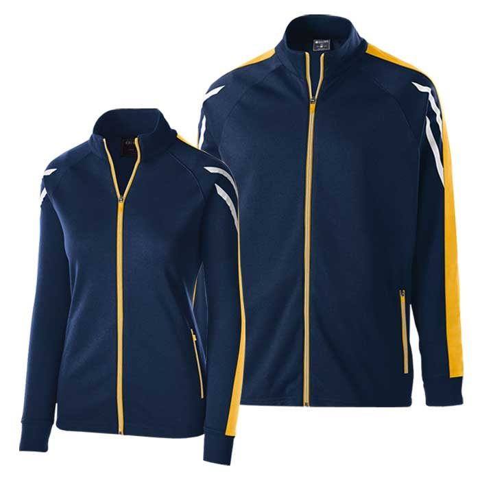 Navy Blue and Athletic Gold Flux Warmup Jacket