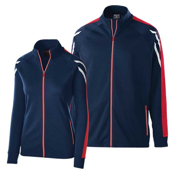 Navy Blue and Red Flux Warmup Jacket