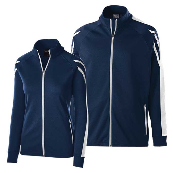 Navy Blue and White Flux Warmup Jacket