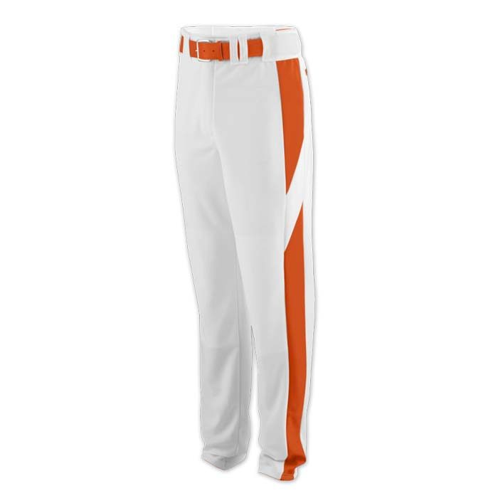 baseball pant white with orange highlight