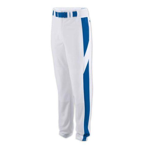 baseball pant white with royal highlight