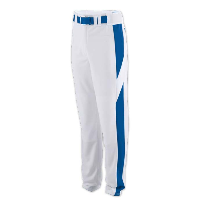 baseball pant white with royal highlight