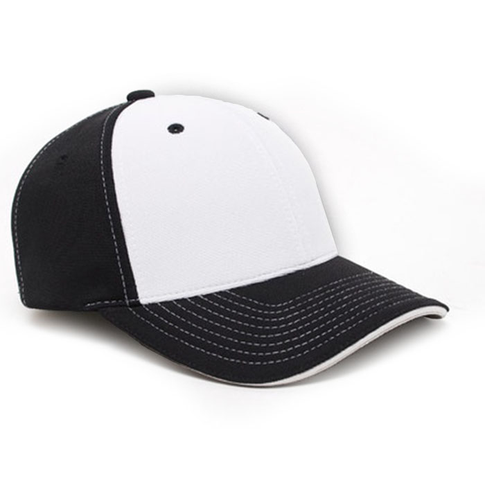 M2 embroidered performance cap black white