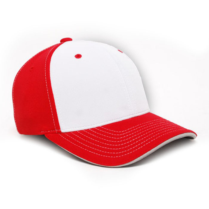 M2 embroidered performance cap red white