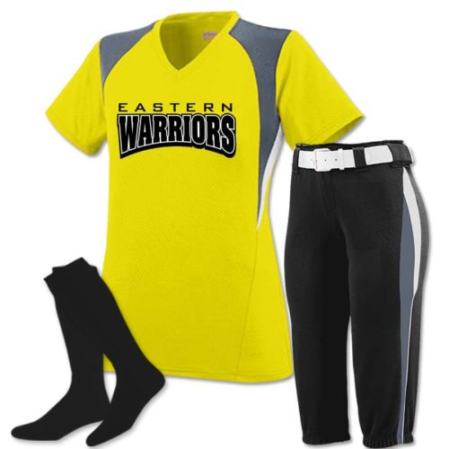 Mystic Pinhole Performance Mesh, V-Neck Short Sleeve Softball Jersey and Knee Length Pants with Graded Inseam in Power Yellow