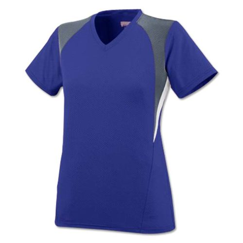 Mystic Pinhole Performance Mesh, V-Neck Short Sleeve Softball Jersey in Purple/Graphite/White