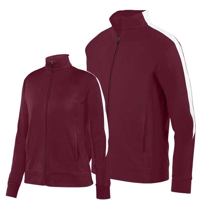 Maroon and White Olympian 2.0 Warmup Jacket