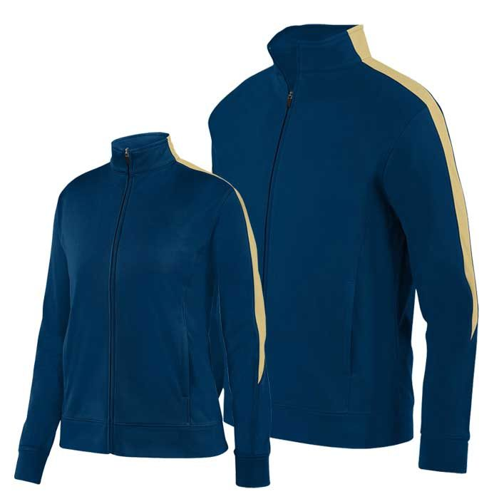 Navy Blue and Vegas Gold Olympian 2.0 Warmup Jacket