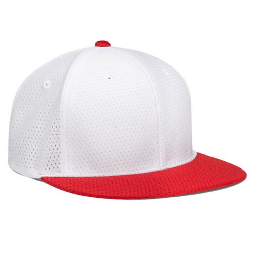 Pacific Headwear ES818 Air Jersey Cap in White and Red