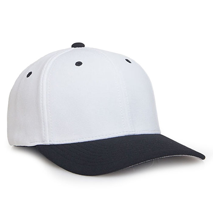 Embroidered FlexFit Performance Cap in White and Black