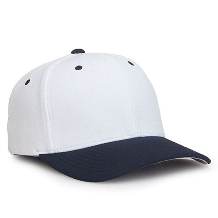 Embroidered FlexFit Performance Cap in White and Navy
