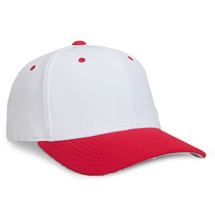 Embroidered FlexFit Performance Cap in White and Red