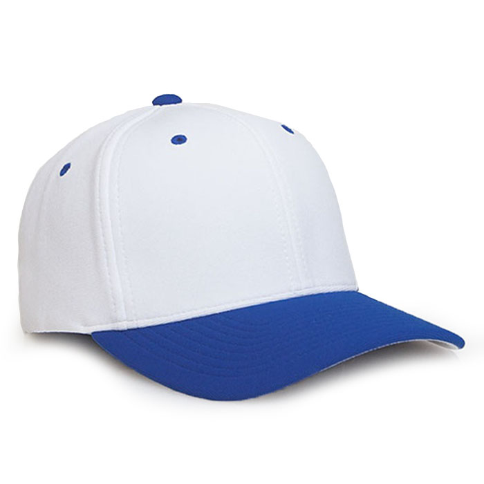 Embroidered FlexFit Performance Cap in White and Royal Blue