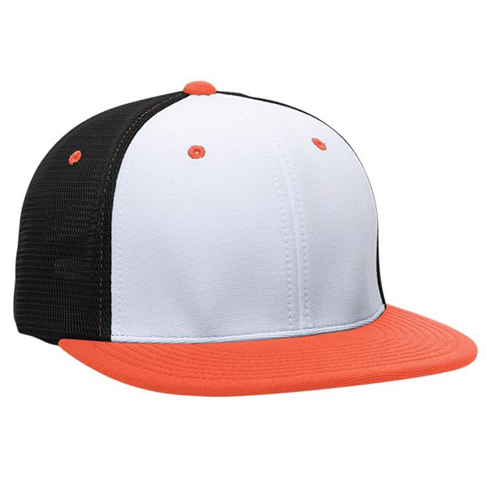 ES341 M2 Trucker Cap in White, Black, and Orange