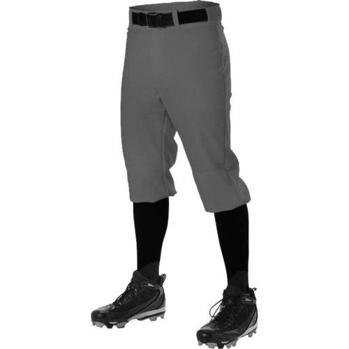 Alleson brand hemmed knicker length, 12oz. Baseball Pants in Charcoal