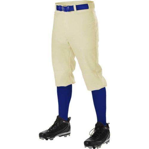 Alleson brand hemmed knicker length, 12oz. Baseball Pants in Vintage White