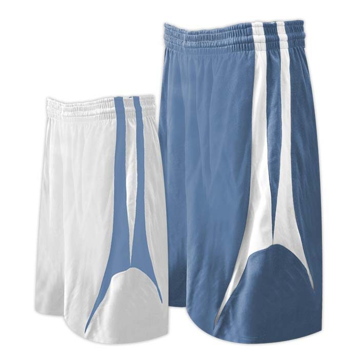Alleson reversible basketball short in columbia blue white