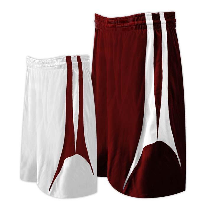 Alleson reversible basketball short in maroon white