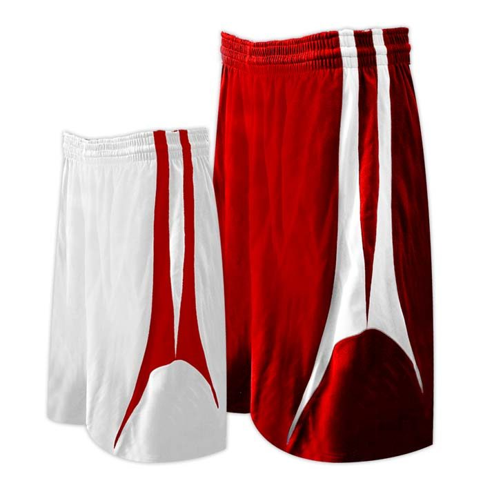 Alleson reversible basketball short in red white