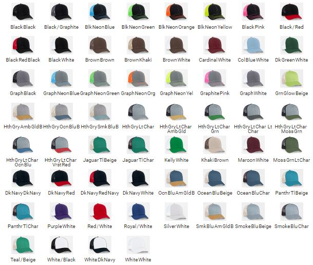 Pro Trucker ADJUSTABLE Cap Colors