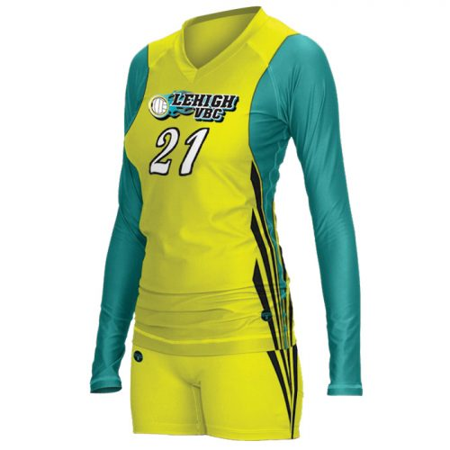 Women's ProSphere Big Reach, custom sublimated Volleyball Uniform with Longsleeve Jersey, designed in Yellow, Teal and Black