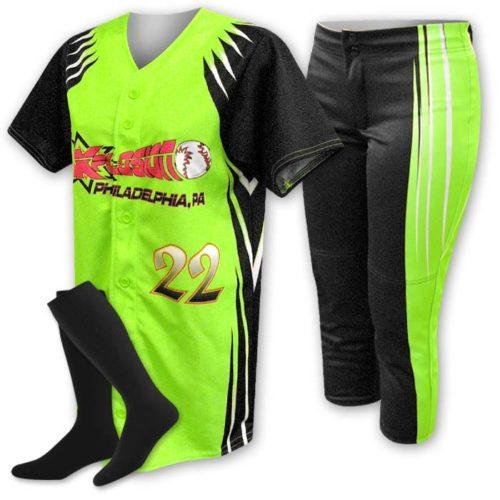 Custom Sublimated ProSphere Velocity Softball Uniform, designed in Fluorescent Green, Black and White