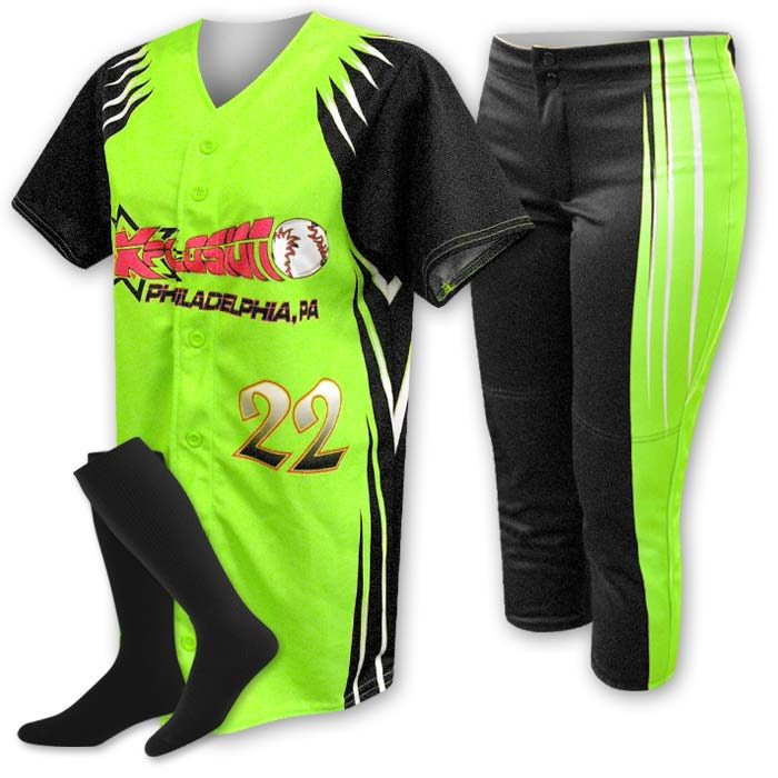 Custom Sublimated ProSphere Velocity Softball Uniform, designed in Fluorescent Green, Black and White
