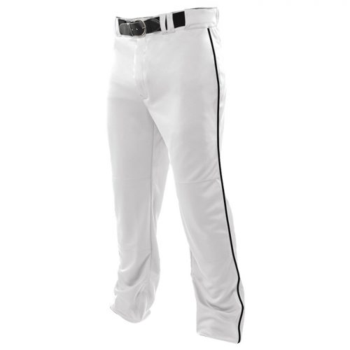 Baseball Relief Piped Pant in White/Black