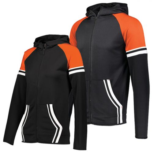 Retro Grade Warmup Tapered Hooded Jacket in Black and Orange