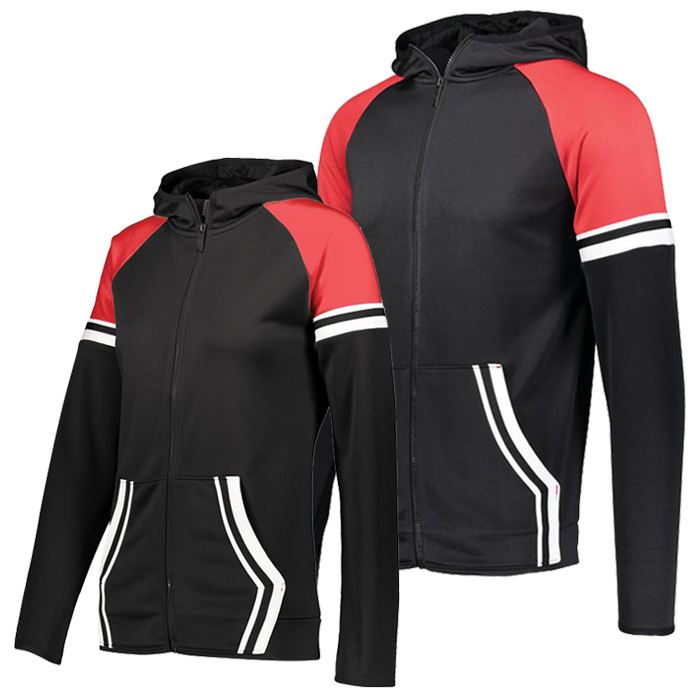 Retro Grade Warmup Tapered Hooded Jacket in Black and Red