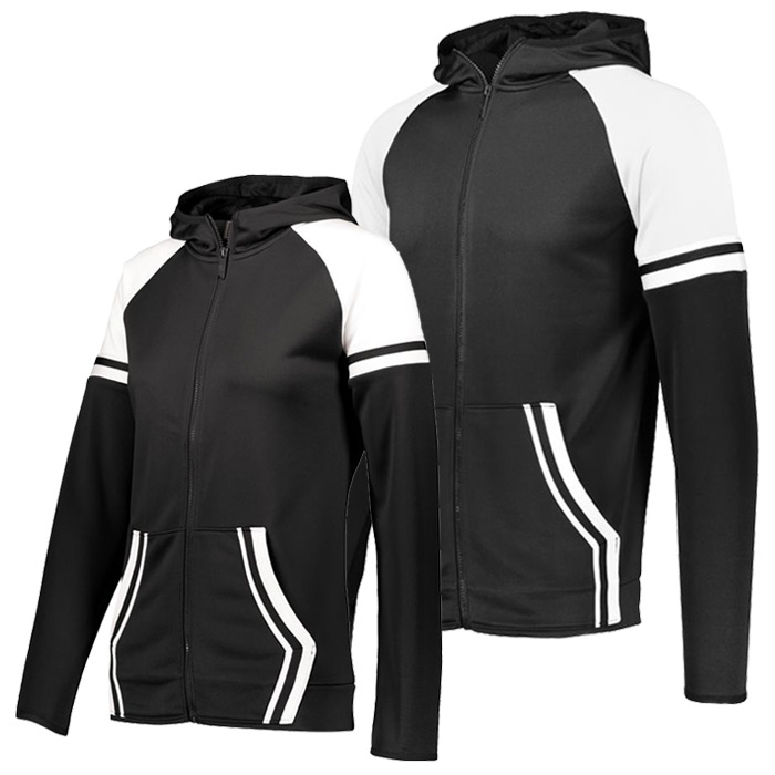 Retro Grade Warmup Tapered Hooded Jacket in Black