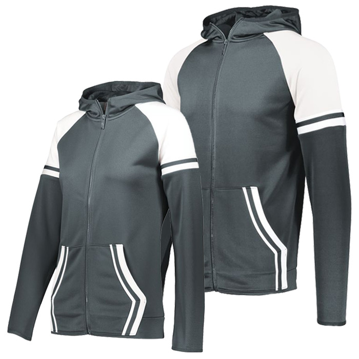 Retro Grade Warmup Tapered Hooded Jacket in Graphite