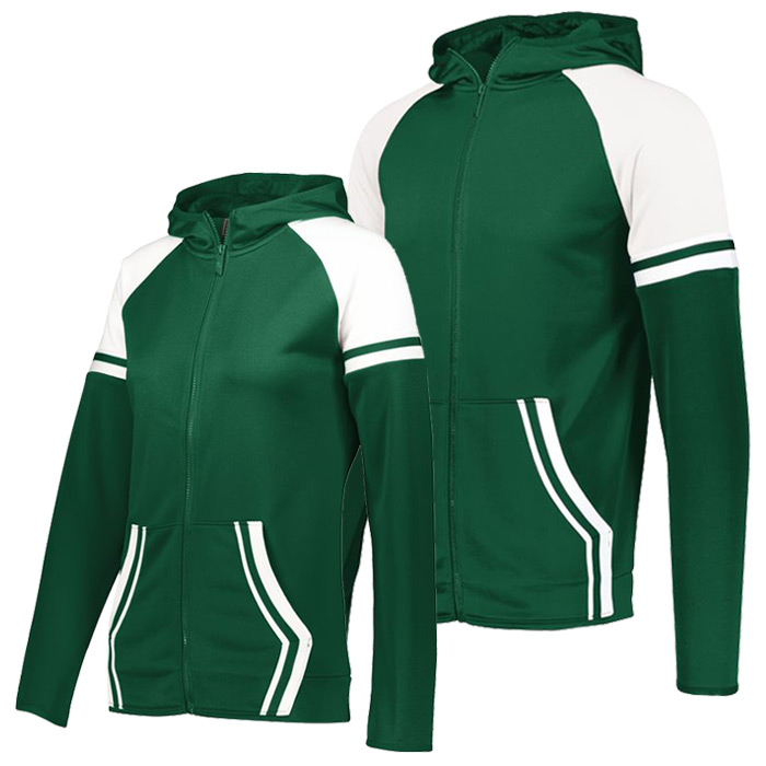 Retro Grade Warmup Tapered Hooded Jacket in Forest Green